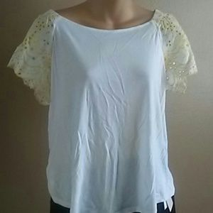 Loft white and yellow blouse